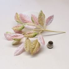 Spray of Shell Pink and Beige Velvet Leaves  Milliner's Hat Trim